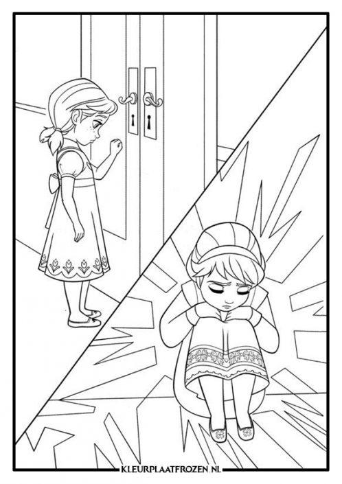 Frozen kleurplaat Anna en Elsa jong