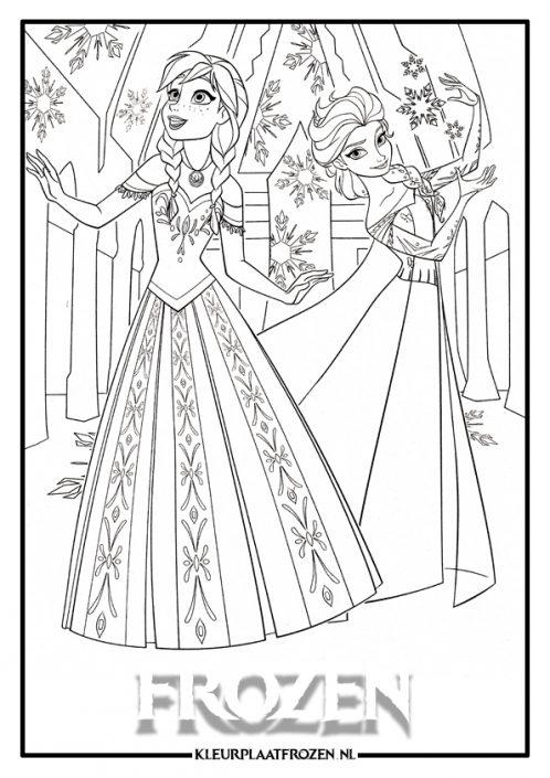 Elsa en Anna kleurplaat van Frozen