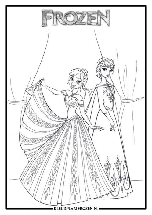 Anna en Elsa Kleurplaat uit Frozen