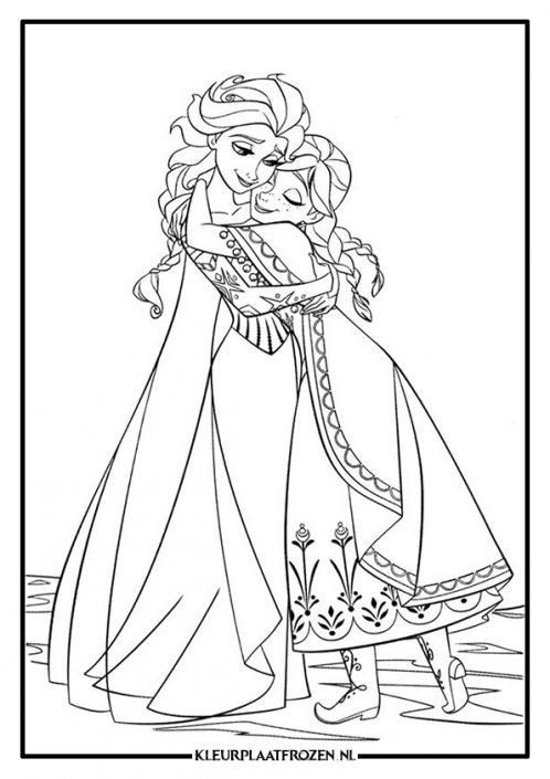 Frozen kleurplaat Anna en Elsa