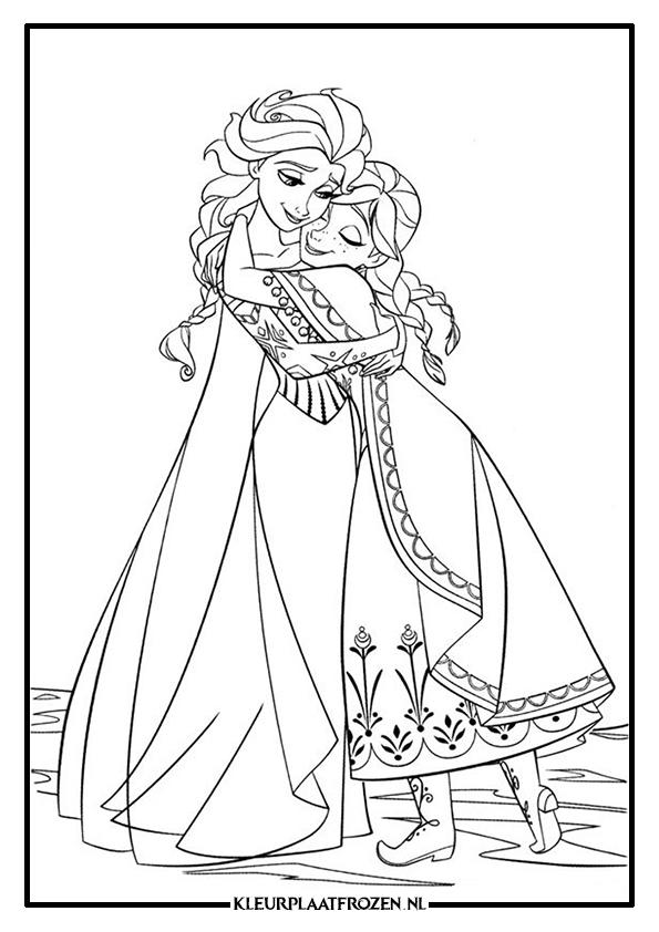 Kleurplaten Prinsessen Frozen.Elsa Anna Kleurplaat Uitprinten Op Kleurplaat Frozen