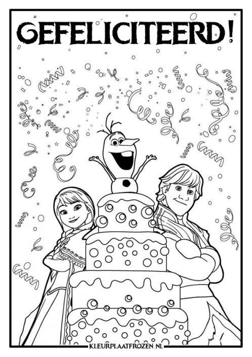 anna en kristoff en olaf kleurplaat frozen verjaardag
