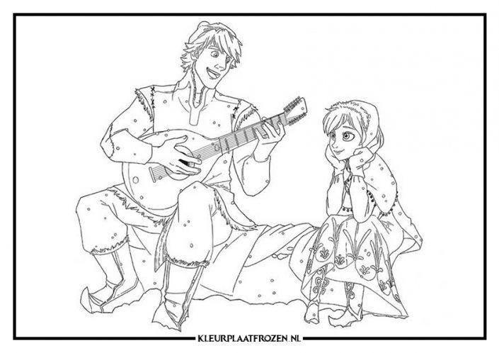 Kleurplaat van Kristoff die een liedje op de gitaar speelt voor Anna