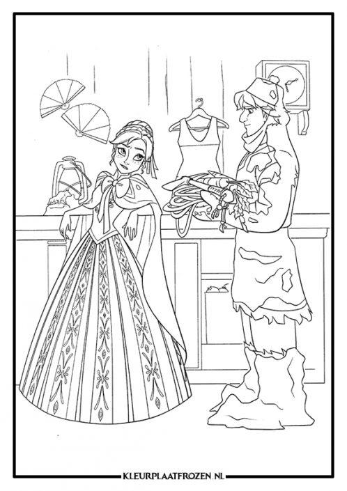 Kleurplaat van Anna en Kristoff in de winkel