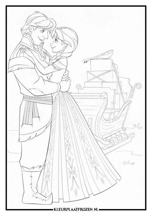 Kleurplaat van Anna en Kristoff die elkaar vasthouden