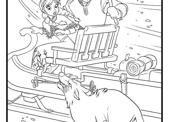 Kleurplaat van Anna en Kristoff die worden aangevallen door een wolf