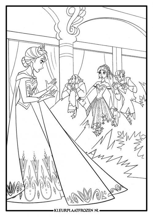 Elsa, Anna en gasten kleurplaat Frozen