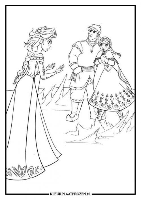 Elsa, Anna en Kristoff kleurplaat Frozen
