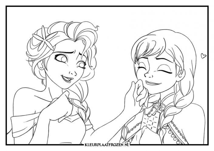 Elsa en Anna kleurplaat Disney