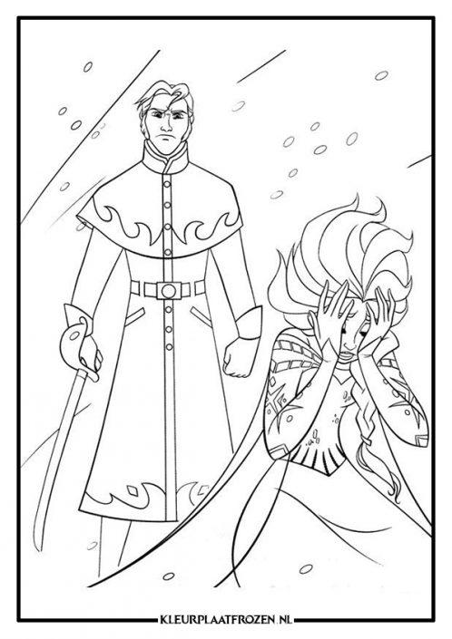Elsa en Hans kleurplaat Frozen