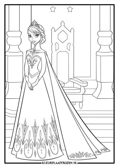 Kleurplaat Elsa staat voor de troon