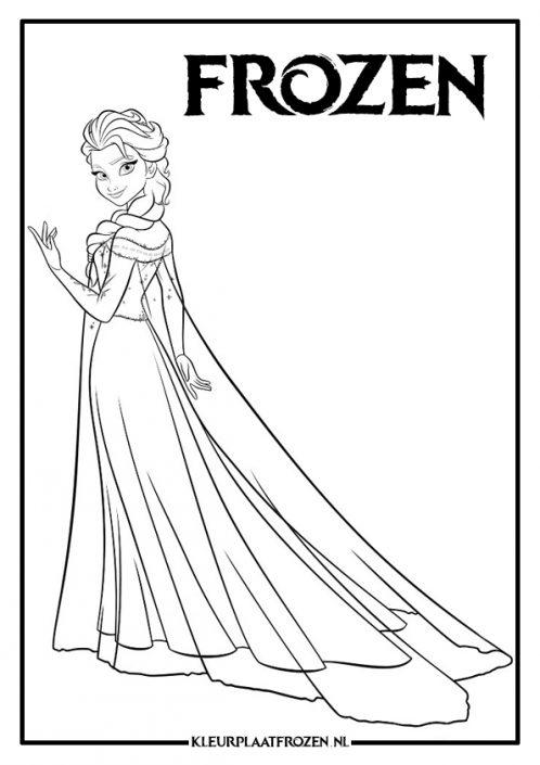 Elsa kleurplaat staan met jurk