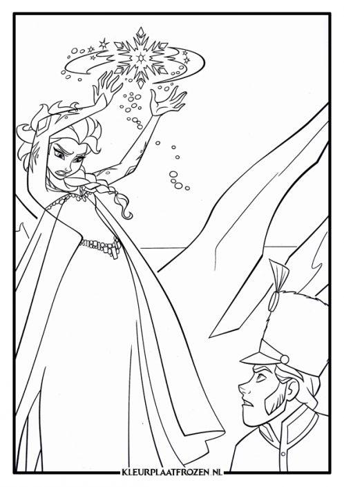 Elsa kleurplaat verdedigen met krachten