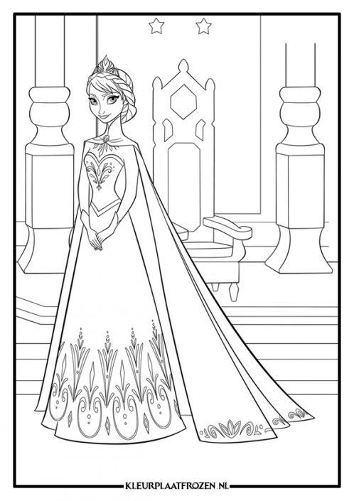 Elsa kleurplaat bij de troon