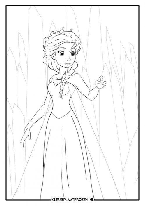Kleurplaat van Frozen Elsa