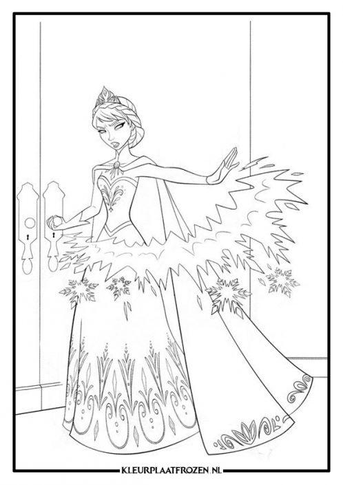 Elsa kleurplaat gebruikt haar kracht