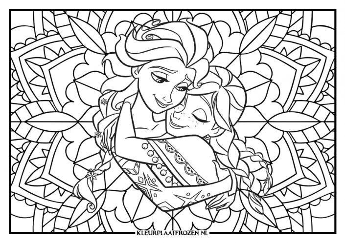Kleurplaat Elsa en Anna mandala