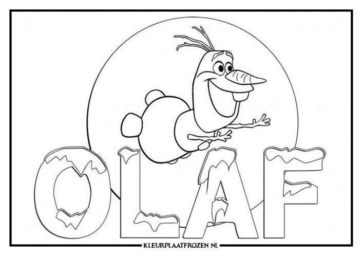 Kleurplaat Olaf met naam