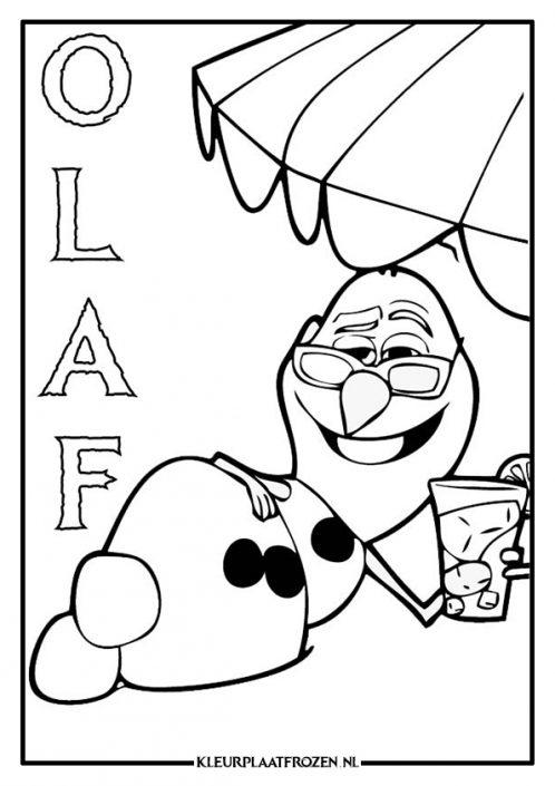 Kleurplaat Olaf met bril onder de parasol